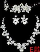 Luxury Rhinestone Bride 3pcs set necklace earring Bridal Tiara jewelry sets wedding accessories women