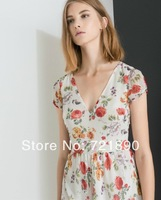 2014 Fashion  summer  Low-cut V-neck Floral Flower Print dress W178Z
