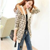 2014 New Autumn And Winter Tops Women'S Slim Hooded Sweater Plus Thick Velvet Warm Long Coat Jacket XG20-01