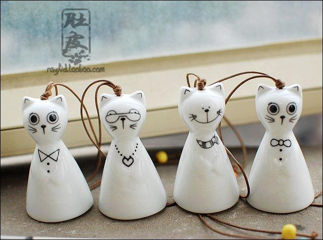 Japanese style windbags zakka - cat ceramic wind chimes windmill f39(China (Mainland))