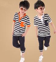 New 2014 kids clothes sets clothing set for boys clothes outerwear fashion o-neck white orange blue short set A