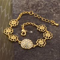 Wholesale Delightful Jewelry 24K Yellow Gold Plated White Round CZ Women's Chain Bracelet