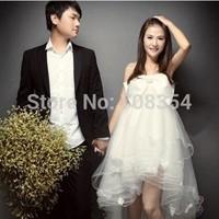 2014 New Arrival Sweet Unique Strap Bow 5-layer Crystal Yarn Hem  Gravida Wedding Dress/Pregnant Wedding Gown 25