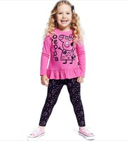 2014 New Design Casual Clothing 2 Pcs Suit Baby Girls Peppa Pig Frill Tunic and Leggings 2 Piece Set Kids Spring Autumn Outfit