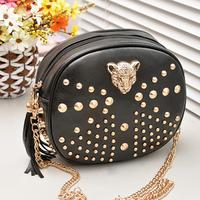 2014 Autumn Fashion PU Leather Women Ladies Shoulder Bags Handbag Girls Messenger Bags With Rivet & Leopard Face, Free Shipping