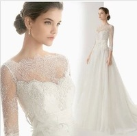 Slit neckline wedding dress new arrival sleeves lace  short trailing princess bride flower wedding dress Freeshipping