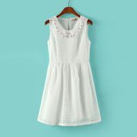 2014 New Style Summer fashion Lattice High Waist Lapel sleeveless dress