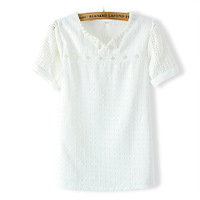 2014 summer new Korean ladies fashion embossed white beaded chiffon short sleeve T shirt
