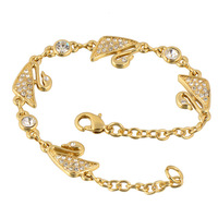 Wholesale Charming Jewelry 24K Yellow Gold Plated White Round CZ Women's Swan Chain Bracelet