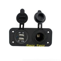 Dual Car Cigarette Lighter Socket Splitter 12V Charger Motorcycle Modification accessories USB Power Supplier Adapter