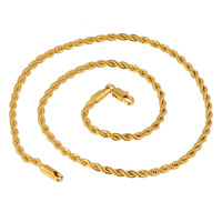 Wholesale Twisted 24K Yellow Gold Plated Men's Rope Chain Necklace 48CM