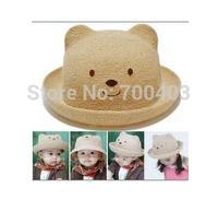 2014 New Children's Hat  Boy  Girl Summer Beach Cute Bear Hat Kids Beautiful Fashion Cap