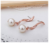 New top quality 2014 new 18k rose gold plated water drop pearl stud earrings (UVOGUE UE00029)