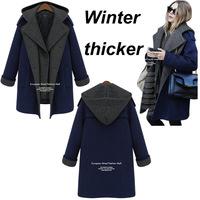women winter fashion thick cotton liner wool blended wide waisteed double breasted women coat winter outwear women jactet  XXL