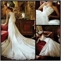 New Graceful Design 2014 Mermaid Wedding Dress Sweetheart Neckline Satin & Tulle Delicate Lace Vestido De Noiva Wedding Gown
