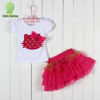 Summer Baby Tutu Skirt Set Bowknot Cartoon Picture Hello Kitty T Shirt + Tutu Skirt Girl Suit Small Kid's Short Skirt Set GX296