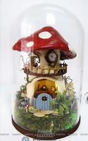 Free Shipping 2014  Glass House Toy DIY Dream Mushroom House,  Miniature Assembly Scale Model Building Kit, Great Gift For Kids