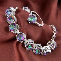 60%OFF New Style Ring & Bracelet Luxury Set Jewelry Rainbow Fire Mystic Topaz Crystal Set As Women Wedding Gift