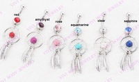 1pc 316 surgical steel Dream Catcher Belly Rings Crystal Gem Body Piercing navel ring