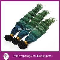 Top Quality Virgin Human Hair Ombre Deep Body Wave Brazilian Hair ,1b/blue/green color, 3pcs