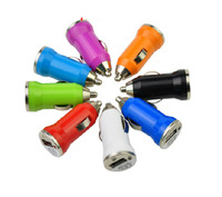 Wholesale mini 1A-2.1A Bullet USB Car Charger Adaptor for ipad for  iphone 5s s4,100 pcs free  shipping