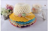 2014 New Arrive Kids Hat Girls Summer Beach Cap Beautiful Flower Child Hat