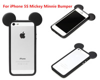 New arrival 3D Cute Minnie Mickey Mouse Marie Cheshire Cat Alien Alice Soft Silicone TPU Bumper Frame case for iPhone 5 5g 5s