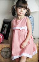 Pink dot dress cotton material decorative bow cute and sweet style 2014 summmer girls vest dress
