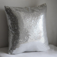 #799  New arrived promotion whole sequin front silver bedding sofa cushion cover pillow case free shipping  wholesale