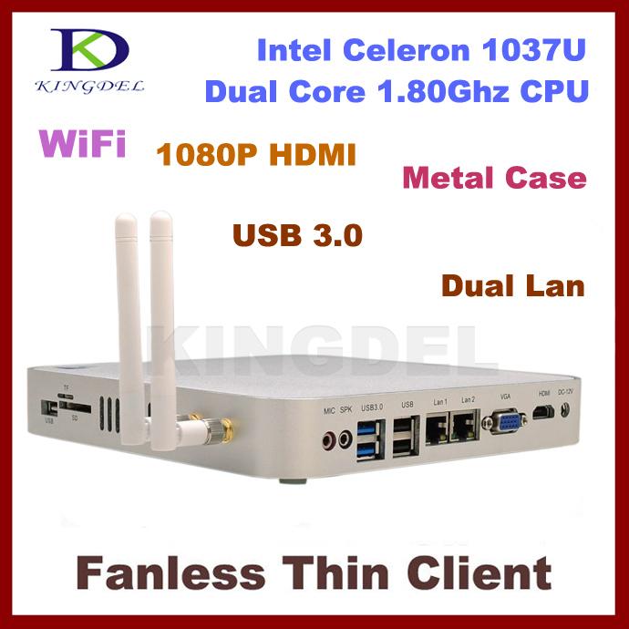 Dual LAN+USB 3.0 ports Thin Client Mini Desktop 2GB RAM+160GB HDD Intel Celeron, Dual Core 1.8Ghz,1080P, HIMI, Windows 7 8,WIFI(Hong Kong)