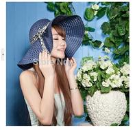2014 New Women Sun Hat Beach Cap Foldable Visor Hollow Out Breathable Summer Hat