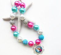 Most popular charming Frozen Elsa&Anna sister princess pendant necklace,kid child girl suitable,chunky bubblegum bead necklace!