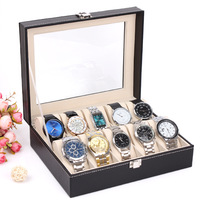 2014 New and Fashion 1PCS 10 Grid Black Leather Watch Display Slot Case Box Jewelry Storage Organizer Wholesale