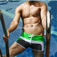 1 Pcs Men's Boy's New Fashion Swimwear Nylon  Sexy Swiming Trunks Swim Shorts Size XXL Green Gray