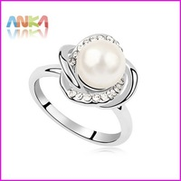 The White Gold Plated Pearl Ring Made With Swarovski Elements #97474