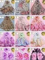 2014 New Spring Summer Autumn Long 160cm x 50 Chiffon Georgette Scarf Leopard Flower Print scarf Wrap Shawl Pashmina Women Gift