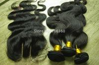 freeshipping virgin human hair bundles with closure 4pcs lot unprocessed virgin malaysian hair with closure  princess hair