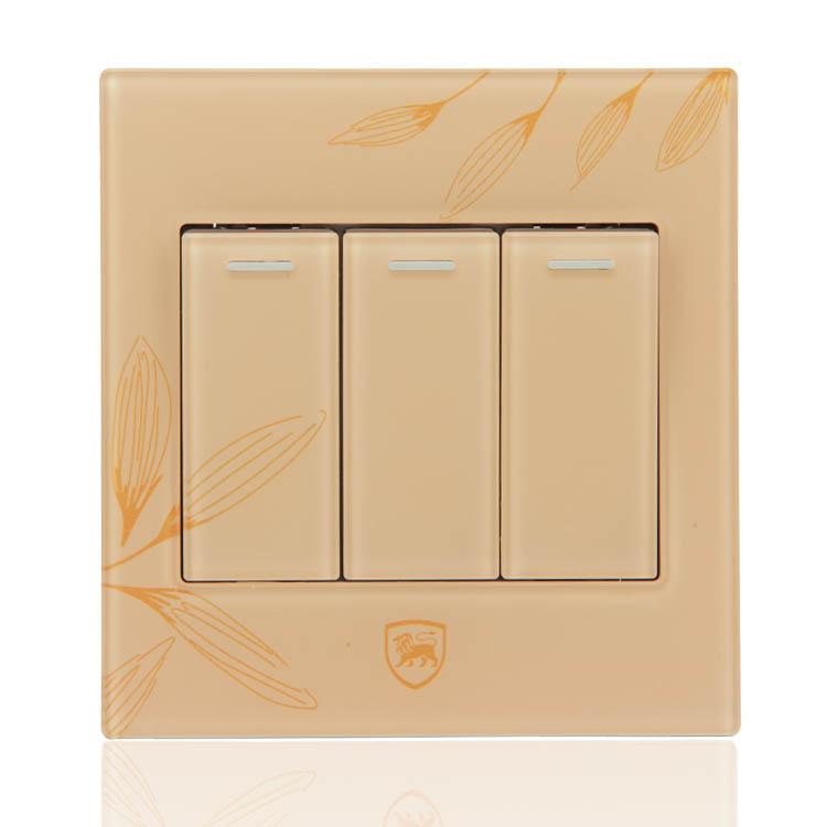 86style frete grátis painel tomada interruptor de cristal V91631 acrílico abriu a 3 portas painel interruptor de parede leve toque único switch(China (Mainland))