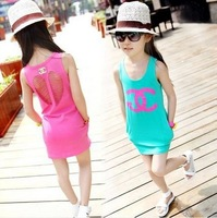 wholesale New 2014 summer girl dress baby girls vest dress cotton girl clothing hollow pocket bag hip baby casual dress