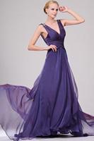 287-1lf Free Shipping A-Line Cap Sleeve Ruffles Padded Long Evening Dress