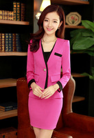 2014 New Hot Sales Women's Fashion Slim OL Suit Set Casual Blazer Coat Lady Elegant Business Suit w/ Skirt Free Shipping