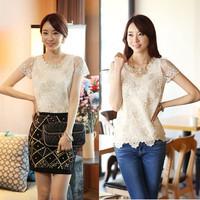 2014 Summer Women's Chiffon Shirts Fashion Lady Lace Beading Tops Shirts Women Girls Sexy Embroidery Blouses Slim O-Neck