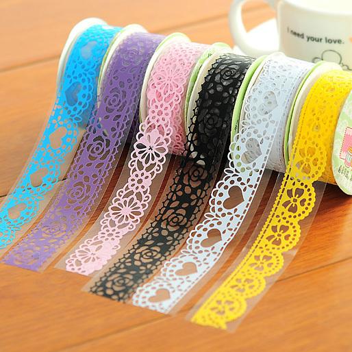 Wholesale! Cartoon Lace Adhesive Tape Masking Japanese tape Decorative Tape Scrapbooking Stickers Stationery School Supplies W53(China (Mainland))