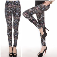 P316   New Milk Silk Sanding Maya Pattern Print Pants High Elasticity Fashion Women's Skinny Ninth Leggings For Spring Autumn