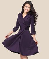 New Spring 2014 Winter Dress Princess Office Casual Women Dress OL Solid Women Clothing High Qulity Knee Length Dresses Purple