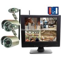 "DIGITAL WIRELESS NETWORK P2P QUAD 10"" LCD SD DVR CCTV CAMERA SYSTEM SMARTPHONE"