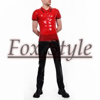 Free shipping latex polo shirt with latex jeans