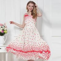 Summer Tank Round Collar Solid Brief Bohemian Long Dress Fashion Woman Slim O-Neck Collar Chiffon Dot Chiffon Dress S M L XL