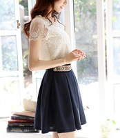 Hot Spring 2014 Fashion Women Blouse Short Sleeve Casual Shirt Lace Top Pearl Collar Clothing Size M-XXL