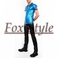 Free shipping latex t-shirt with latex jeans
